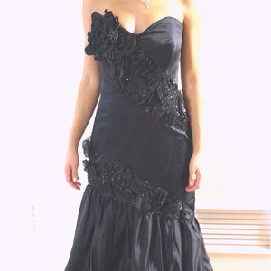 Vintage Silk Satin Ruffled Couture Bustier Gown